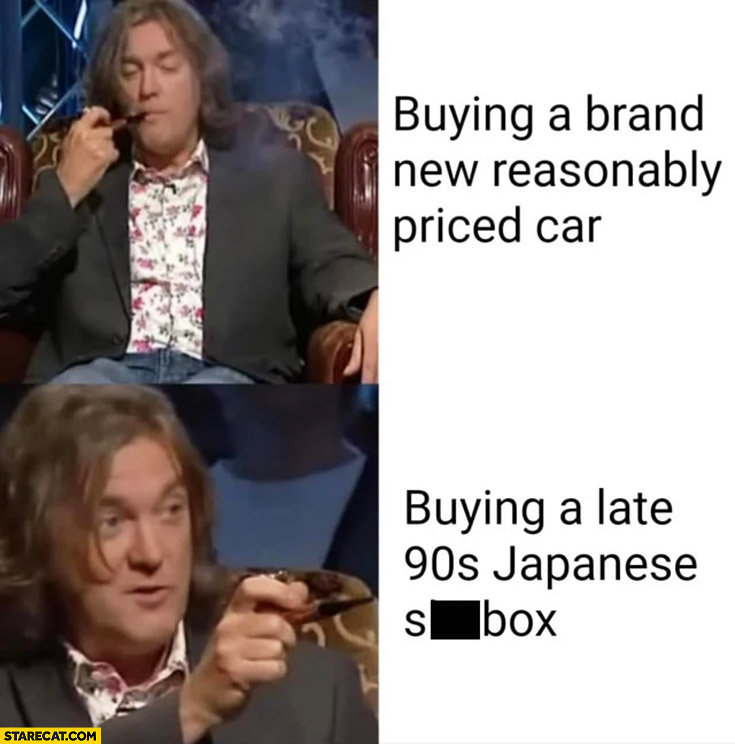 James May buying a brand new reasonably priced car vs buying a late 90s Japanese shitbox