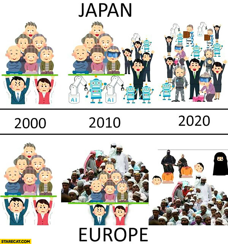 Japan society vs Europe European society 2000, 2010, 2020 robots vs muslim immigrants