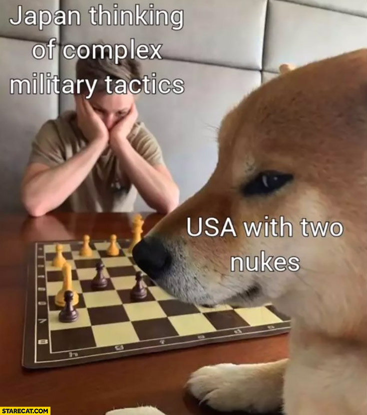 Japan thinking of complex military tactics vs USA with two nukes dog playing chess