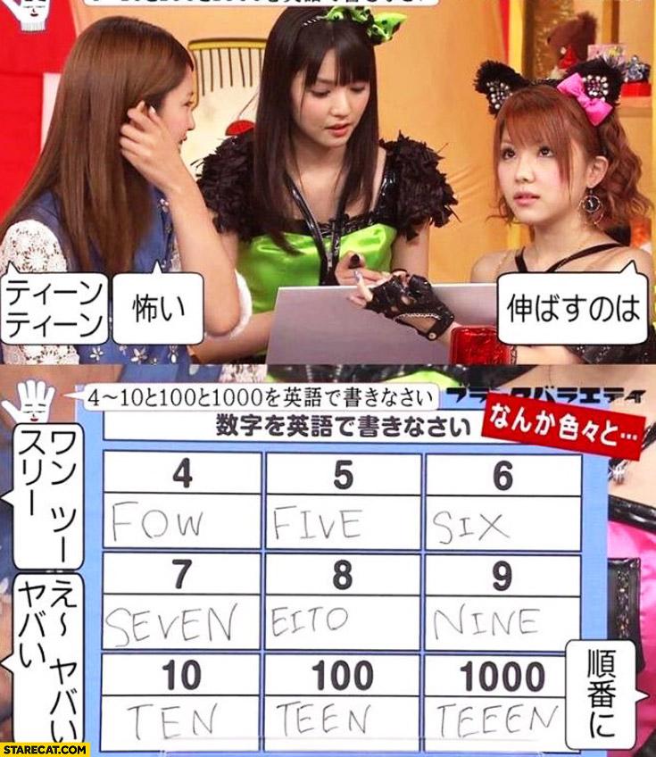 Japan TV show numbers: ten, teen, teeen
