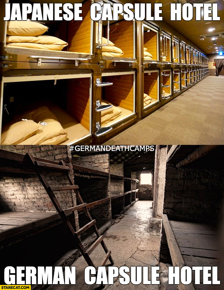 Japanese capsule hotel vs German capsule hotel death camps