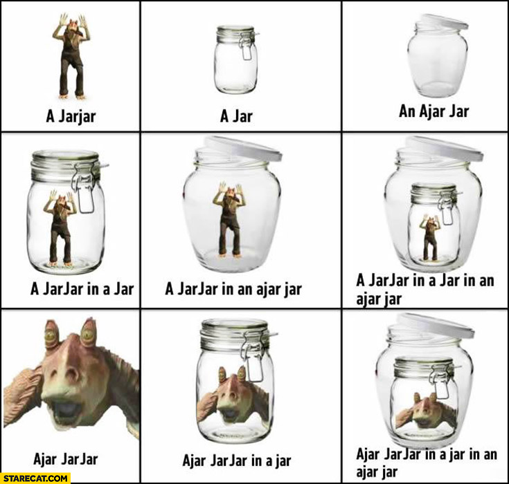 Jar, jarjar, ajar jar, jarjar in a jar, jarjar in ajar jar, ajar jarjar in jar in ajar jar