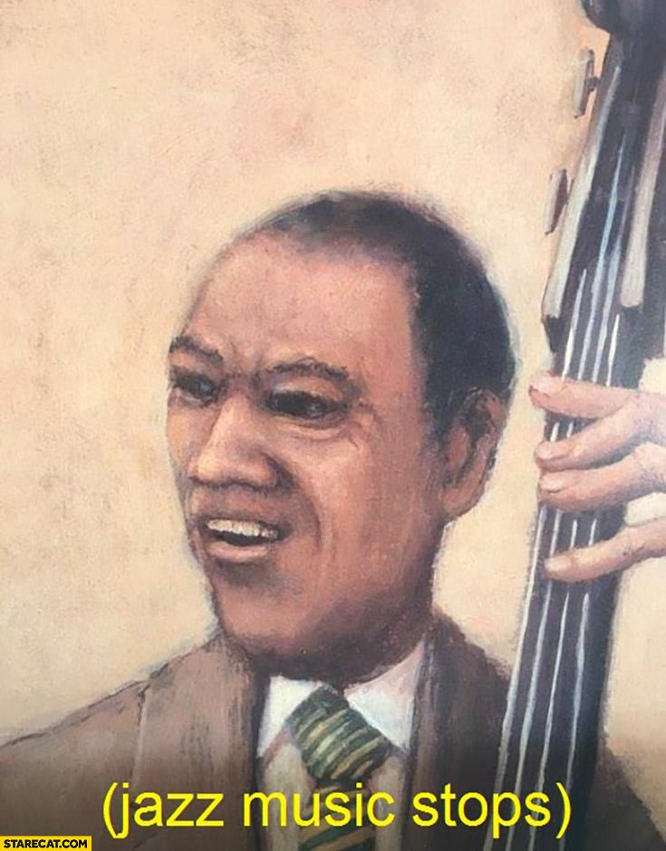 Jazz music stops social reaction meme black man confused