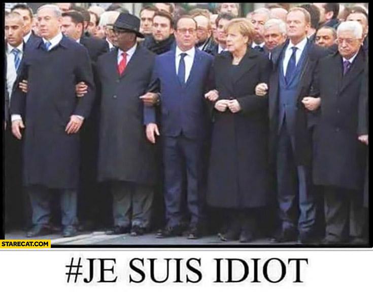 Je suis idiot. Merkel Hollande marching fail
