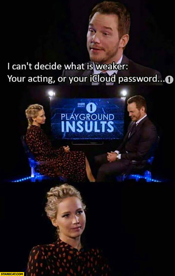 Jennifer Lawrence I can't decide what is weaker your acting or your iCloud password