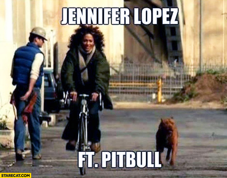 Jennifer Lopez on a bicycle featuring Pitbull dog