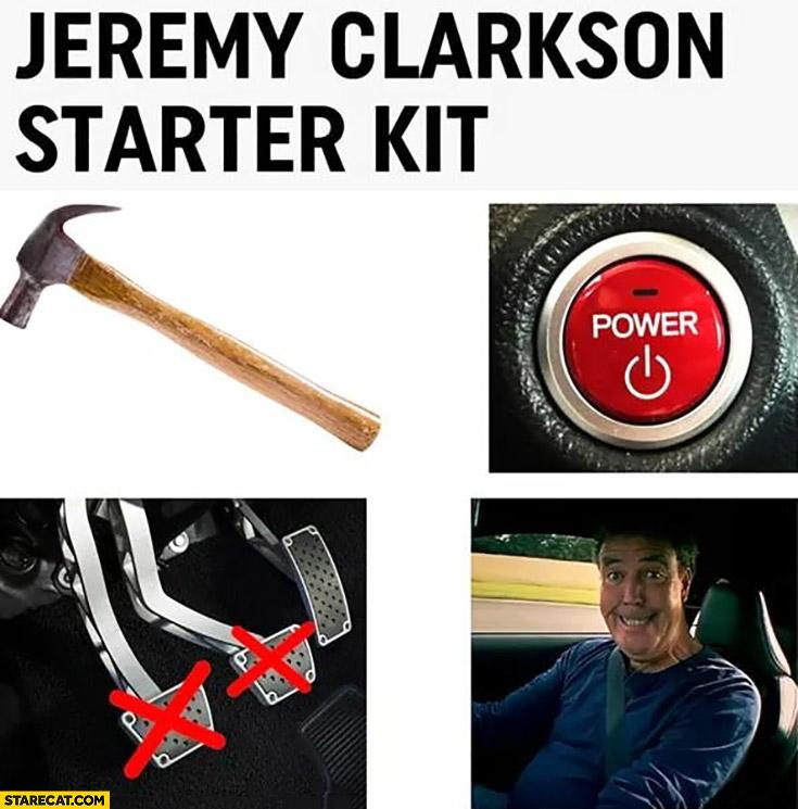 Jeremy Clarkson starter kit: hammer, power, accelerator pedal, smiling face