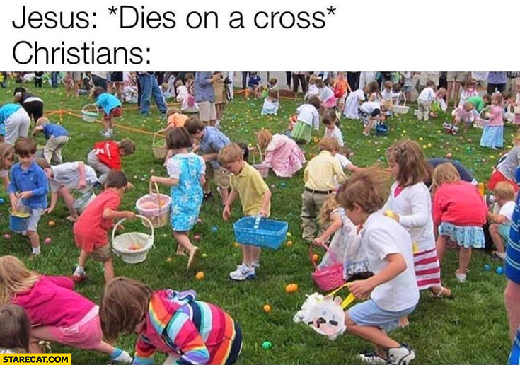 Jesus dies on a cross, christians collecting eggs during easter