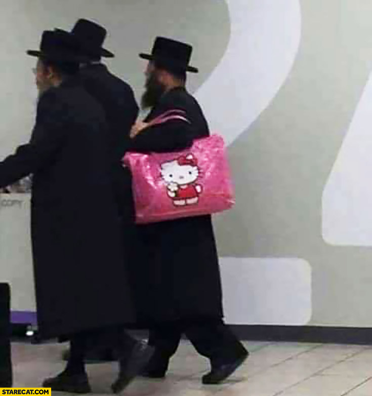Jew carrying a pink Hello Kitty handbag bag