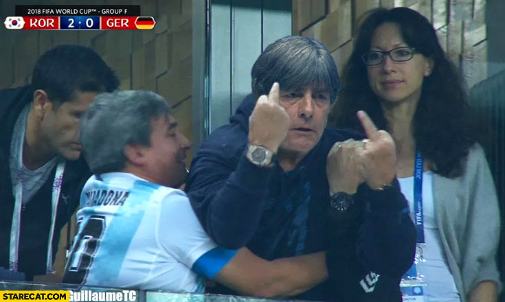 Joachim Loew Maradona showing middle fingers after Germany lost photoshopped World Cup photo