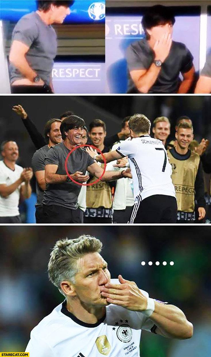 Joachim Loew touching his balls then hugging Schweinsteiger fail