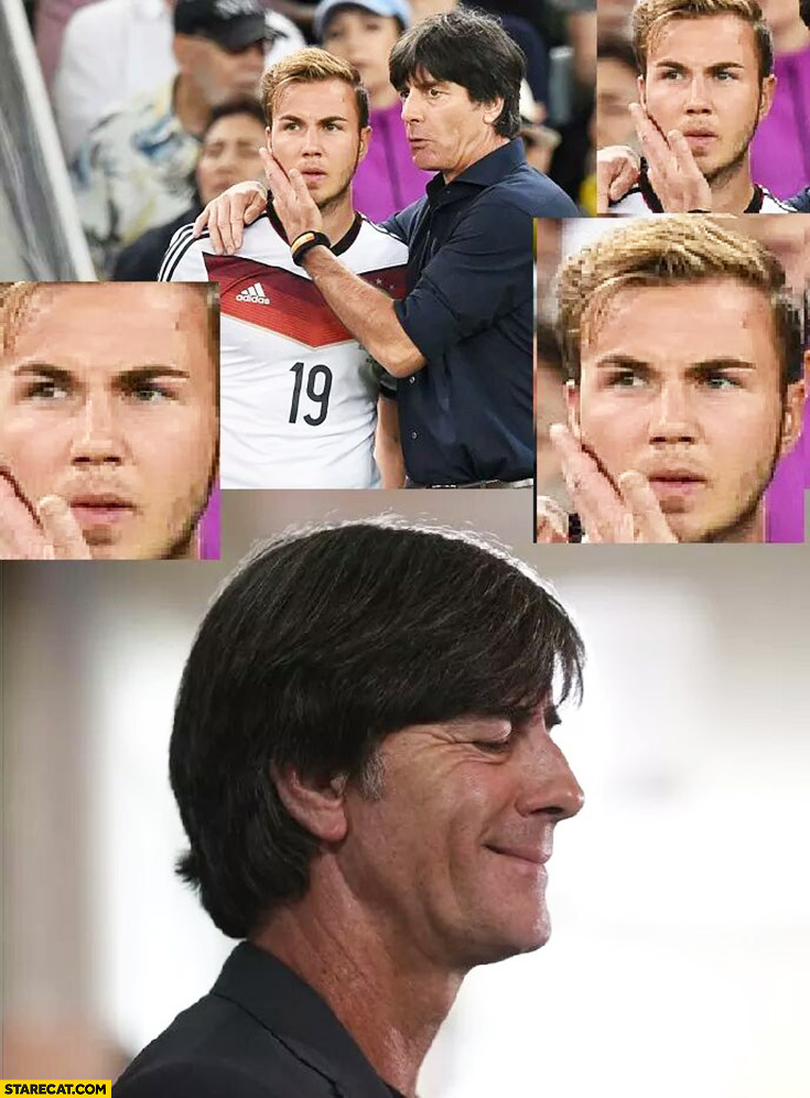 Joachim Loew touching Mario Gotze face happy satisfied