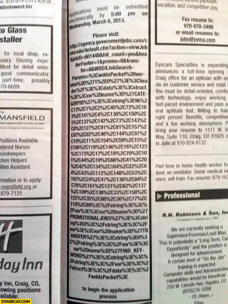 Job applications please visit URL link fail very long newspapper job offer AD