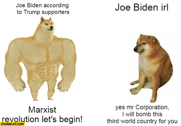 Joe Biden according to Trump supporters: Marxist revolution let's begin vs Joe Biden in real life yes mr corporation I will bomb this third world country for you dog doge