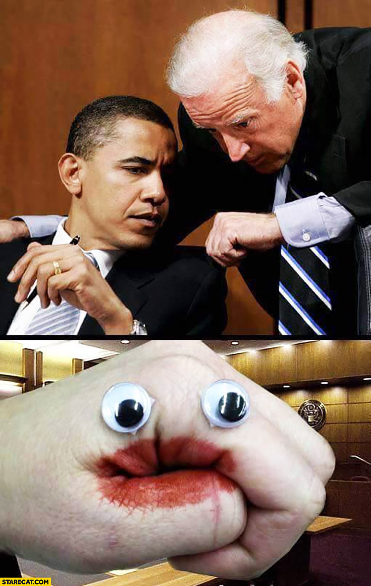 Joe Biden showing Barack Obama hand red lips fake eyes