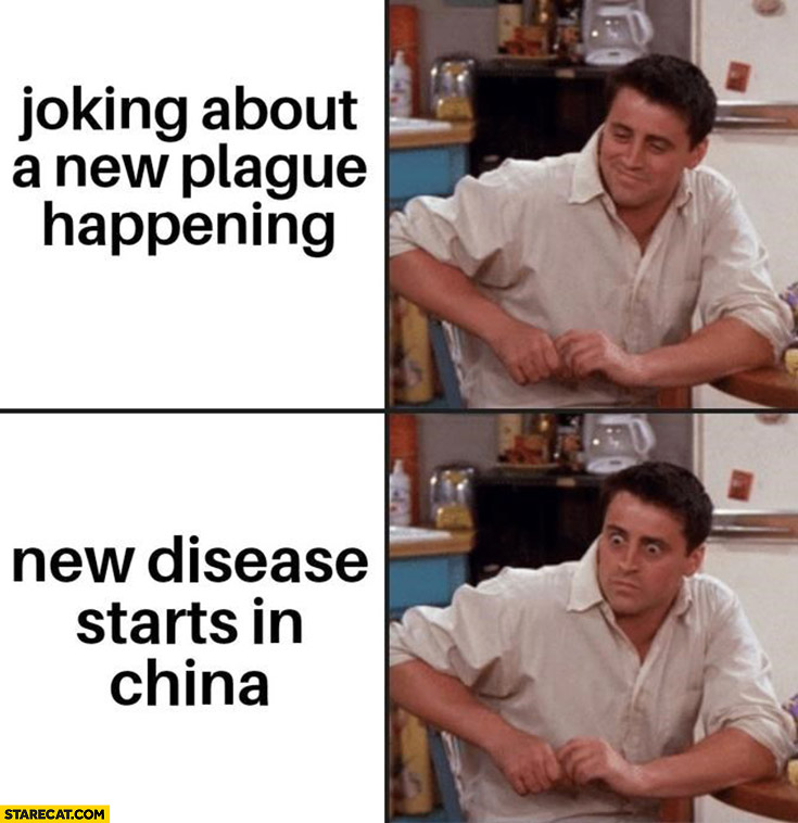 Joey joking about new plague happening, new disease starts China corona virus friends