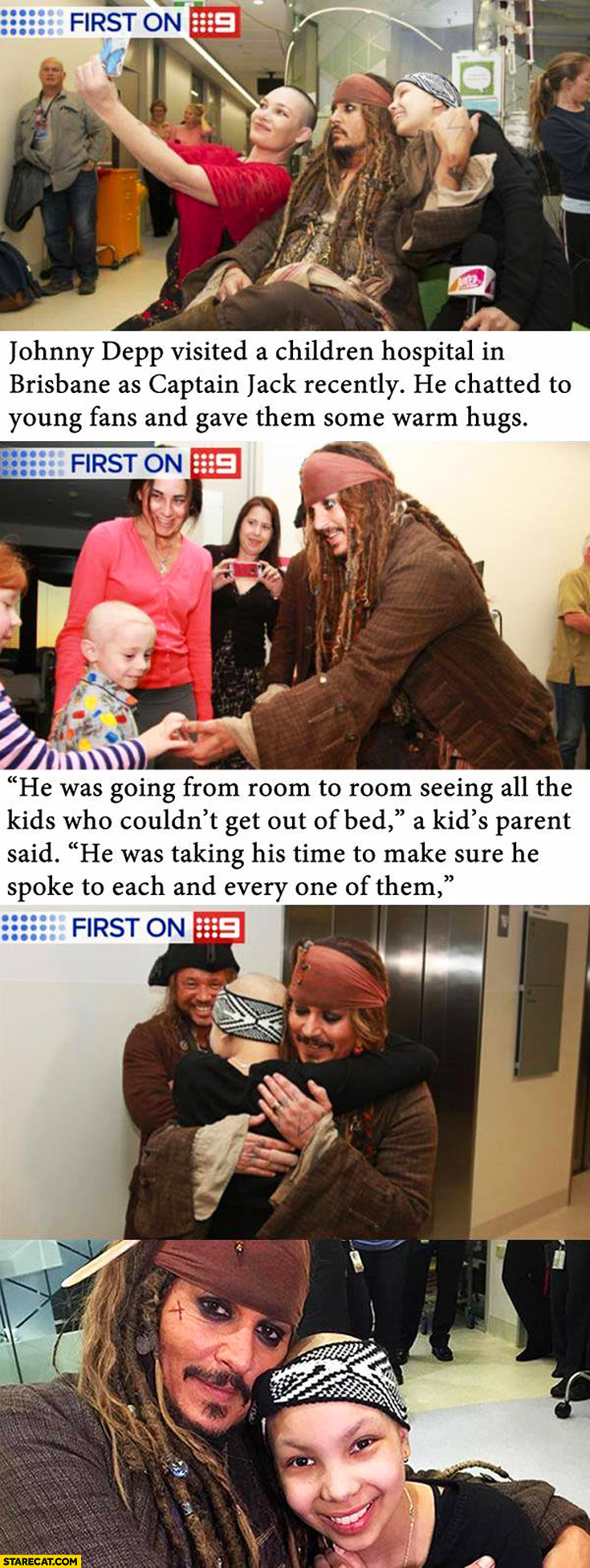 Johnny Depp as Jack Sparrow in children hospital in Brisbane