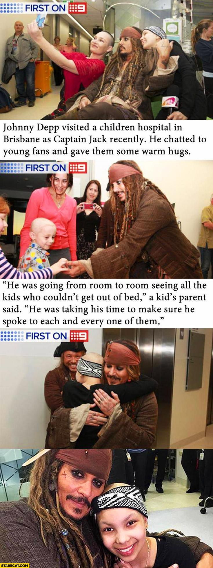 Johnny Depp as Jack Sparrow in children hospital in Brisbane