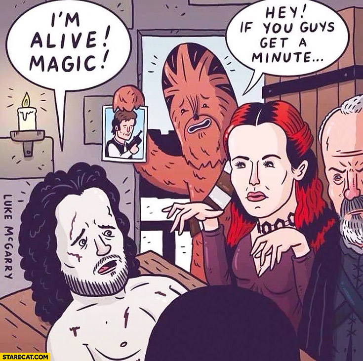 Jon Snow: I'm alive, magic! Chewbacca: Hey if you guys get a minute Han Solo picture Game of Thrones