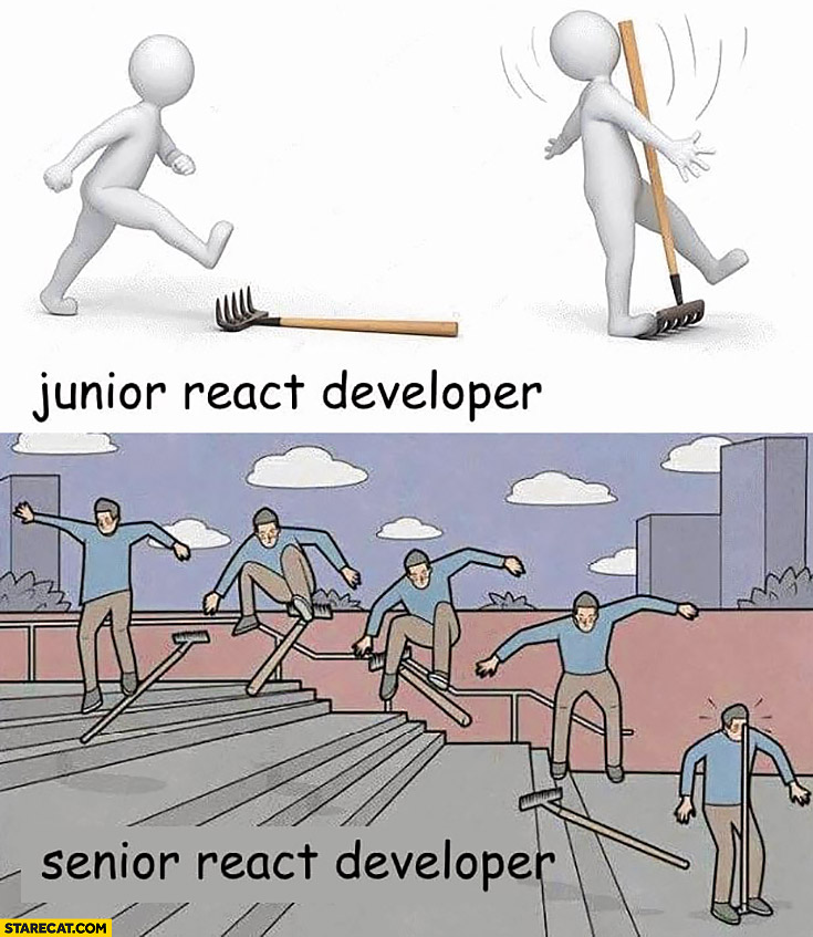 Junior react developer vs senior react developer comparison rake fail
