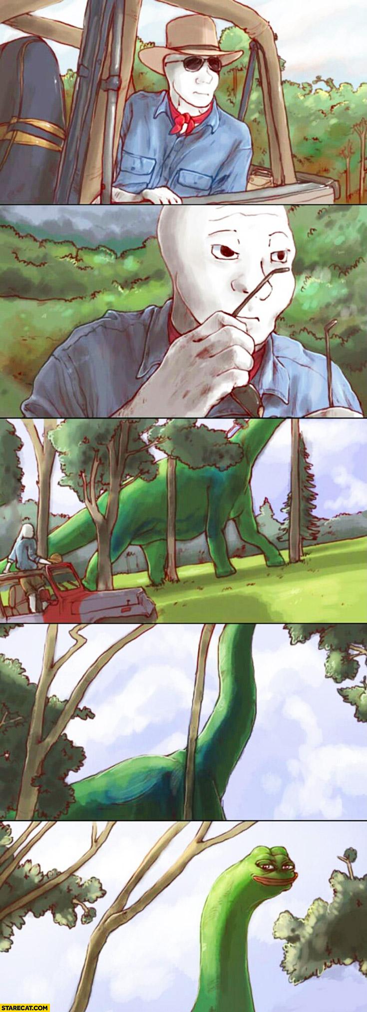 Jurassic Park comic meme characters pepe frog sad