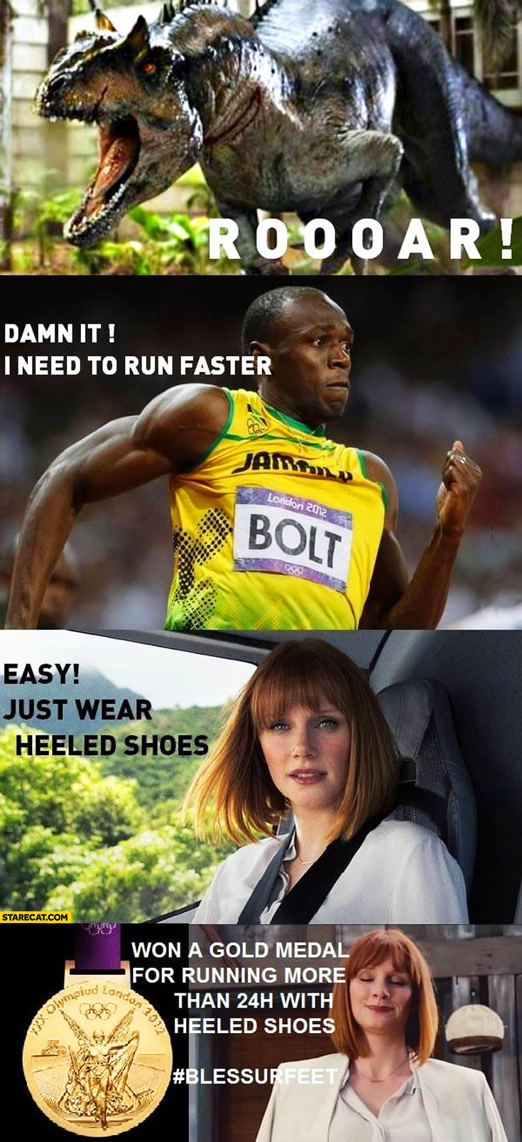 Jurassic Park damn it need to run faster Usain Bolt easy just wear heeled shoes gold medal for running more than 24h with heeled shoes