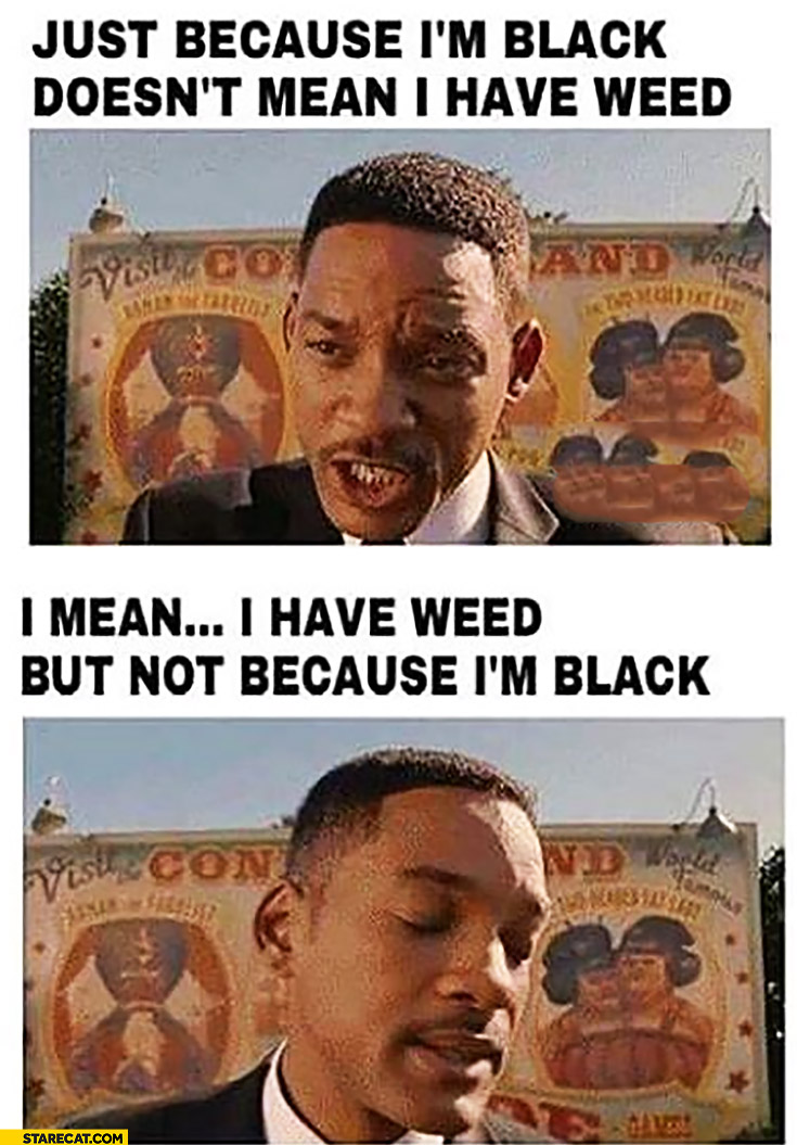 Just because I'm black doesn't mean I have weed, I mean I have weed but not because I'm black Will Smith