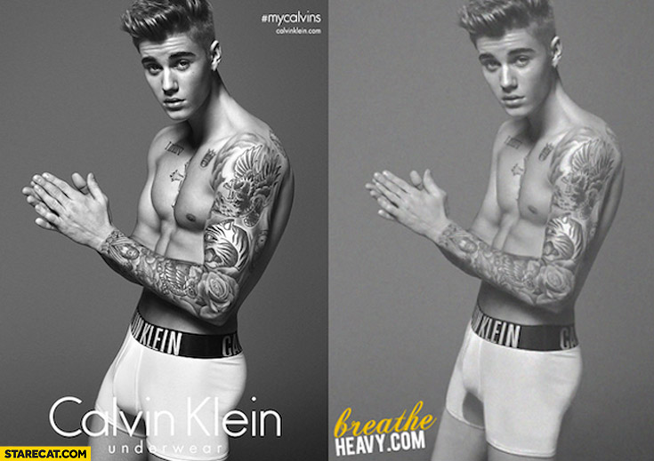 Justin Bieber Calvin Klein before after photoshop