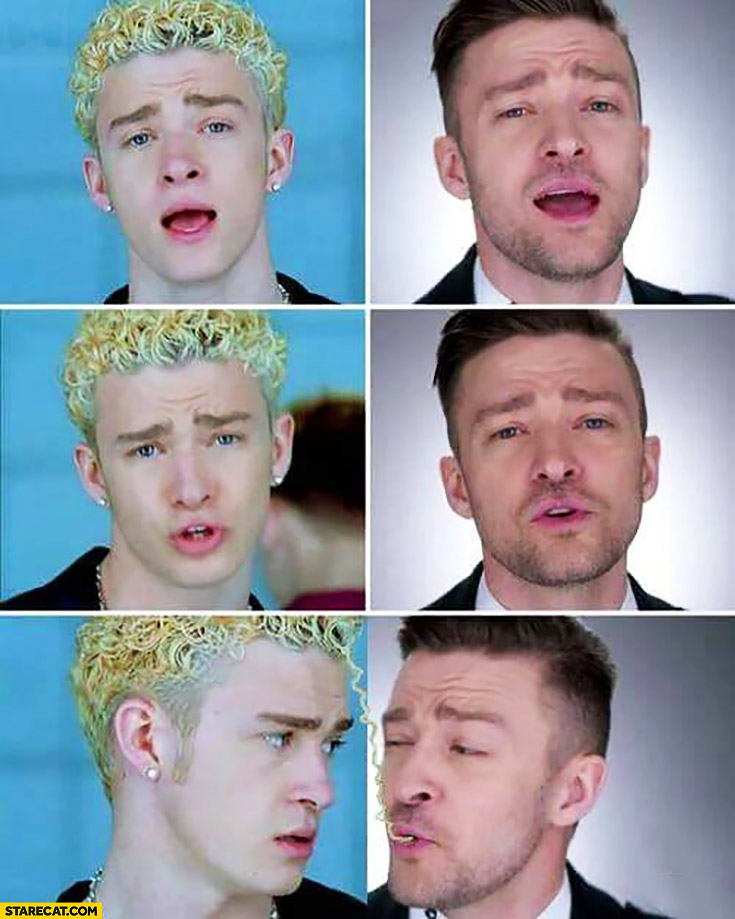 Justin Timberlake eating his own pasta hair from the past