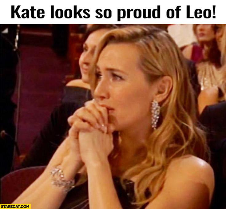 Kate Winslet looks so proud of Leonardo DiCaprio winning an oscar