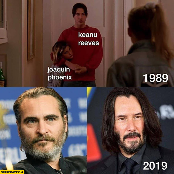 Keanu Reeves Joaquin Phoenix comparison 1989 2019