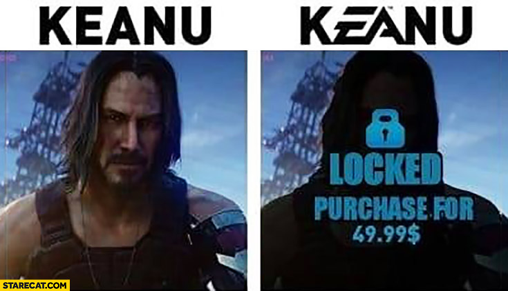 Keanu vs kEAnu EA locked purchase for 50 dollars Electronic Arts