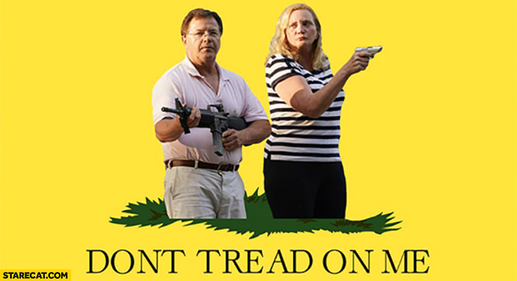 Ken and Karen don't tread on me pointing guns at BLM protesters