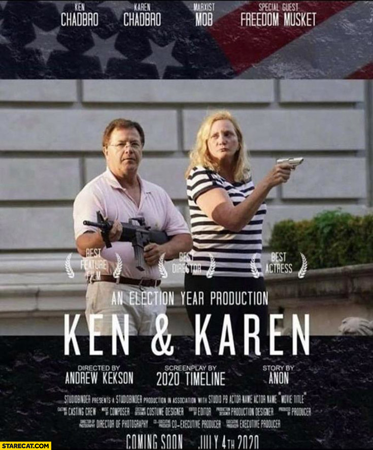 Ken and Karen movie poster couple aim guns at BLM protesters