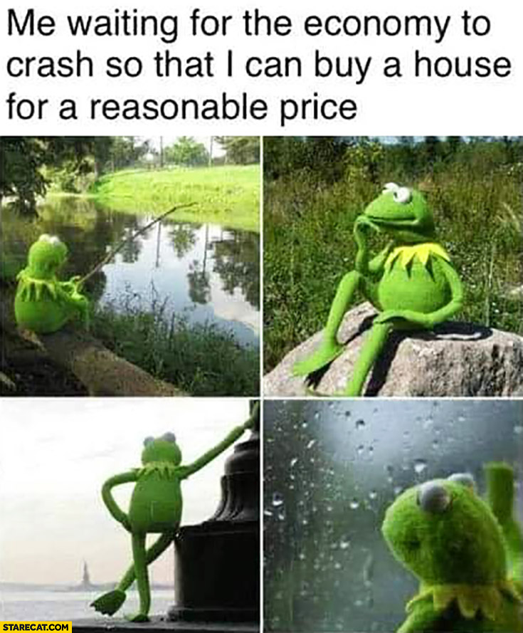 Kermit me waiting for the economy to crash so that I can buy a house for a reasonable price