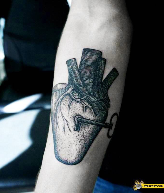 Key to heart tattoo