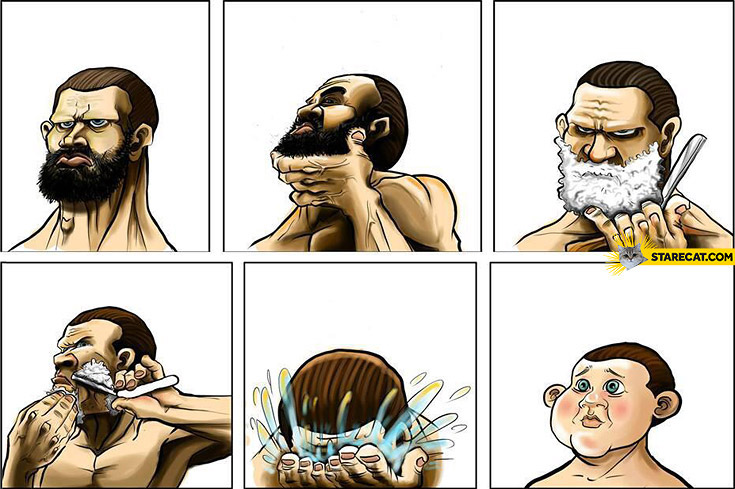 Kid after shaving beard