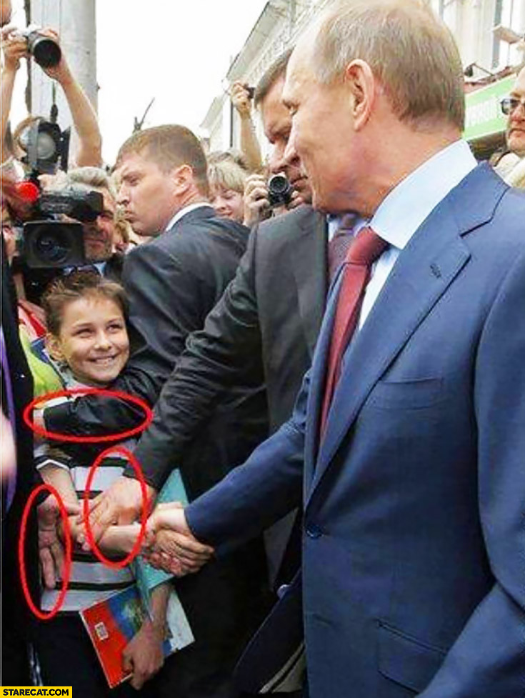 Kid handshake with Putin pulled by bodyguards