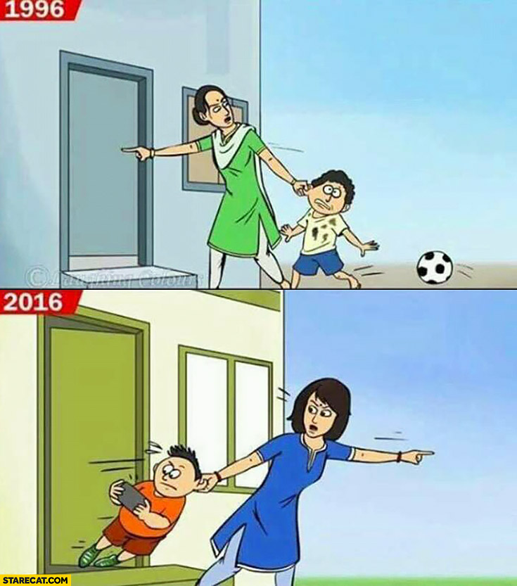 Kids in 1996 compared to kids in 2016 doesn't want to go home vs doesn't want to get out