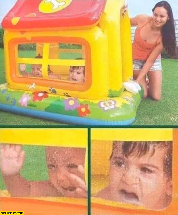 Kids playing in a toy house scared shocked ad fail