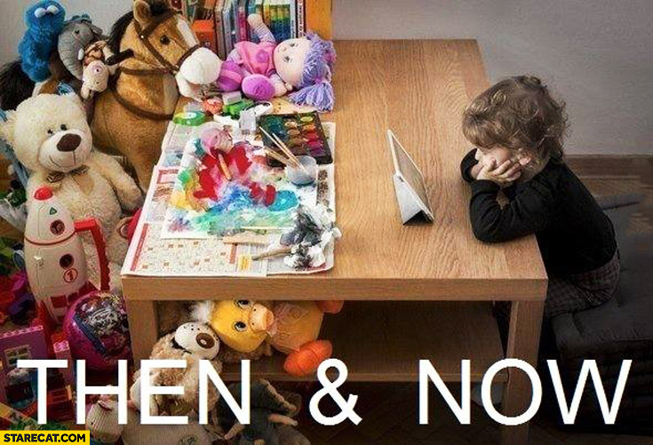 Kids then and now comparison tons of toys now only iPad tablet