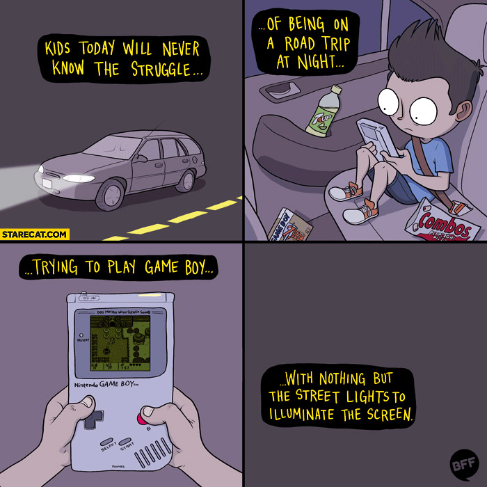 Kids today will never know the struggle of a road trip at night trying to play Game Boy with nothing but street lights animation