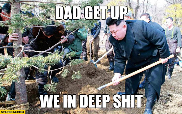 Kim Jong Un dad get up, we in deep shit. North Korea