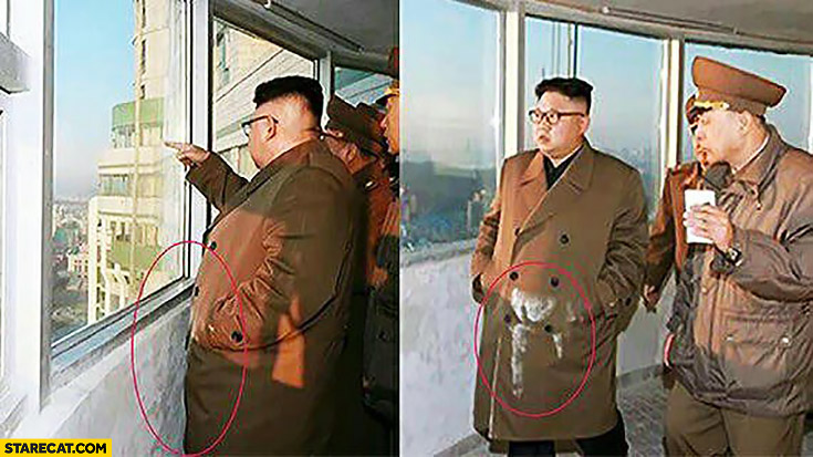 Kim Jong Un dirty coat from touching the wall somebody is going to pay for it