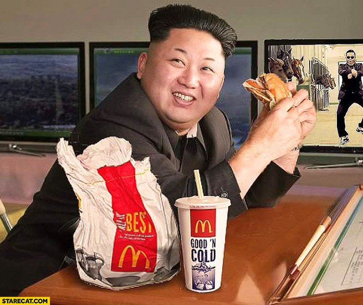 Kim Jong Un eating McDonald's photoshopped