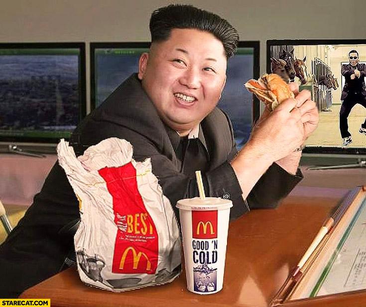 Kim Jong Un eating McDonald's photoshopped