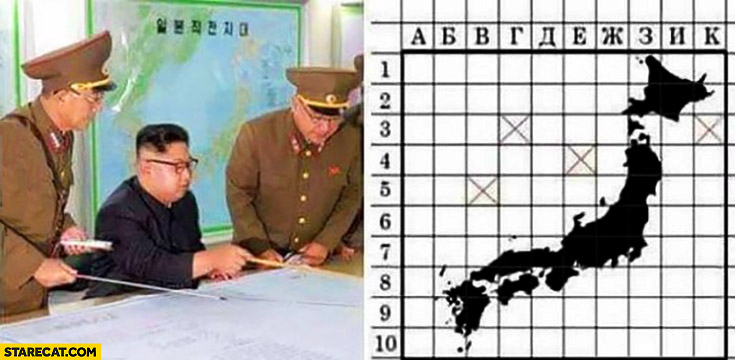 Kim Jong Un playing battleships ships game North Korea Japan on the map