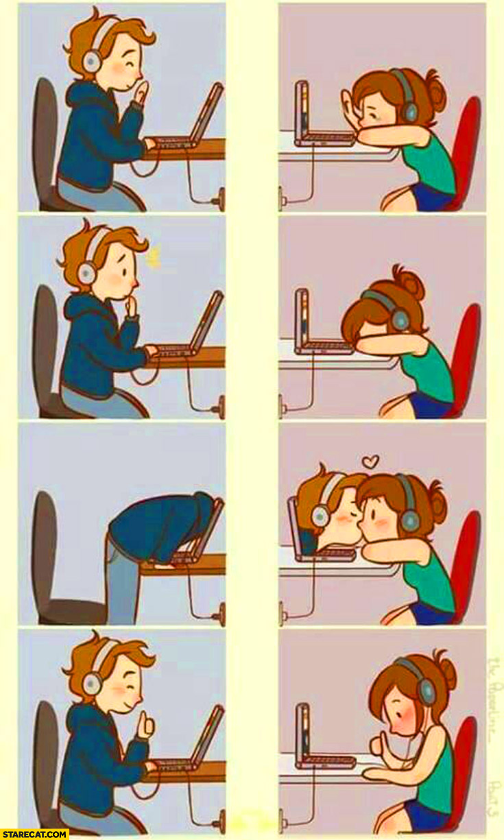 Kiss through internet connection couple comics