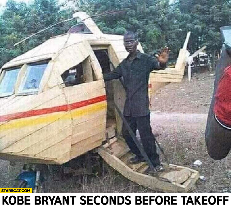 Kobe Bryant seconds before takeoff in his helicopter wooden rubbish