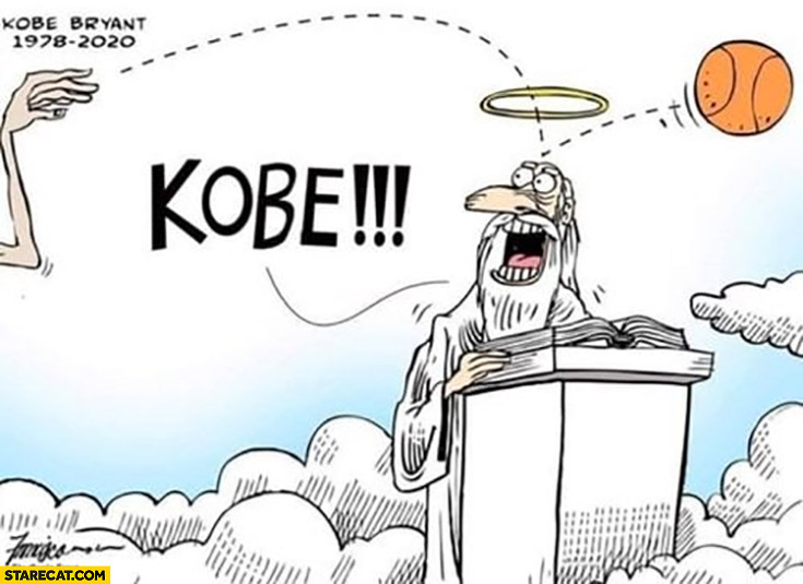 Kobe Bryant throwing basketball in heaven drawing